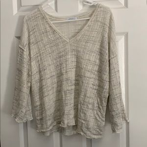 Zara, Cream and Gray Top